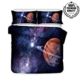 Bettbezug Bettwäsche Set, Morbuy 3D Basketball Drucken Bettwäsche-Set Deluxe Mikrofaser Weiche mit Reißverschluss Bettbezug und Kissenbezüge (135x200cm -2pcs,Galaxis)