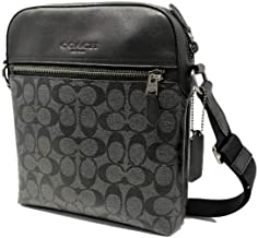 Coach Houston Flight Bag In Signature Canvas Charcoal/Black