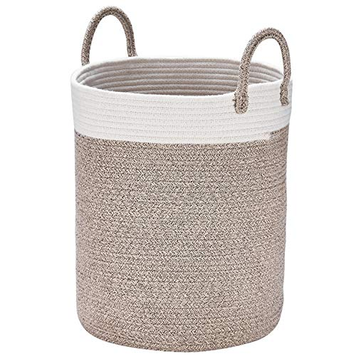 LA JOLIE MUSE Cestos de Lavadora para Ropa Sucia Tejidas en algodón, Grandes H38 x Ø32cm, Toallas de baño, Regalo para Juguetes en Terracota