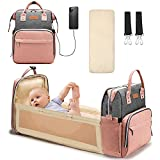 YOOFOSS Diaper Bag Backpack, Baby Nappy Changing Bags Multifunction Travel Back Pack with Changing Pad & Stroller Straps, Large Capacity, Waterproof and Stylish (Pink)