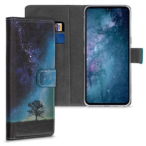 kwmobile Wallet Hülle kompatibel mit LG V60 ThinQ - Hülle mit Ständer Kartenfächer Galaxie Baum Wiese Blau Grau Schwarz