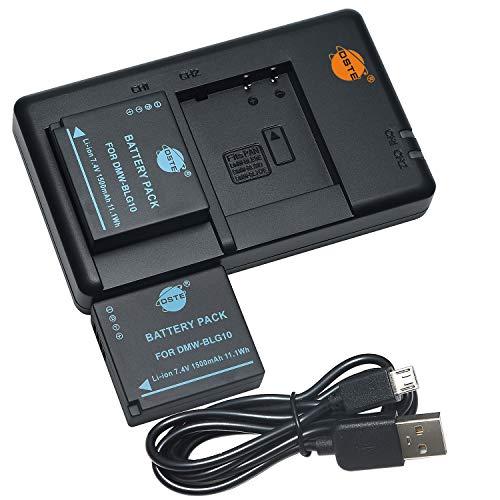 DSTE 2PCS DMW-BLG10(1500mAh/7.4V) Batterie Ladegerät Compatible für Lumix DC-LX100 II,DMC-GF6,DMC-GX80,DMC-GX85 Kamera as DMW-BLE9,DMW-BLG10E