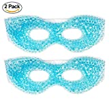 2 Redesigned Therapeutic Spa Gel Bead Eye Mask - Hot or Cold Reusable Ice Packs with Flexible Beads - Compress Therapy for Puffy Eyes, Dark Circles, Headaches, Migraines, Stress Relief, Facial Pain