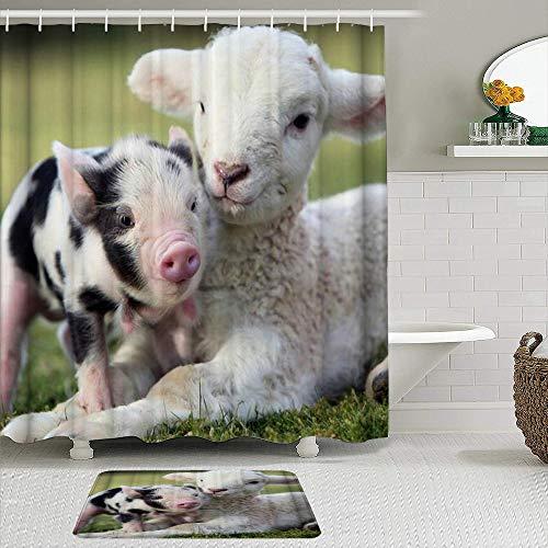 MTevocon Duschvorhang Sets mit rutschfesten Teppichen,Mini Schwein Schaf süße süße Haustiere entzückende Tiere auf Gras, Badematte + Duschvorhang mit 12 Haken