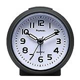 Reloj despertador Plumeet pequeño, silencioso, perfecto para viajar, con función snooze y luz de noche, color bonito para niños, alarma con sonido ascendente, tamaño práctico, con pilas (Negro)