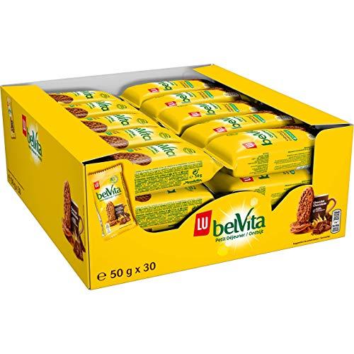 Belvita - Petit Déjeuner Chocolat - Biscuits aux 5 Céréales Complètes et Pépites de Chocolat - Présentoir de 30 sachets (50 g)