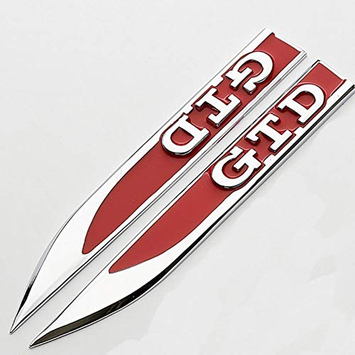 OMGDZ 3D verchromtes Emblem Abzeichen Aufkleber Aufkleber Logo Kotflügel Seitenmetall Für Volkswagen Golf GTI 5 6 7 GTD Aufkleber Auto Zubehör, C.