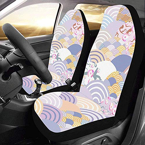 Kawaii Car Seat Cover, Chinese Japanse stijl weegschaal Wave Soft Quality auto voorstoelhoes voor autobestuurders 2 stuks
