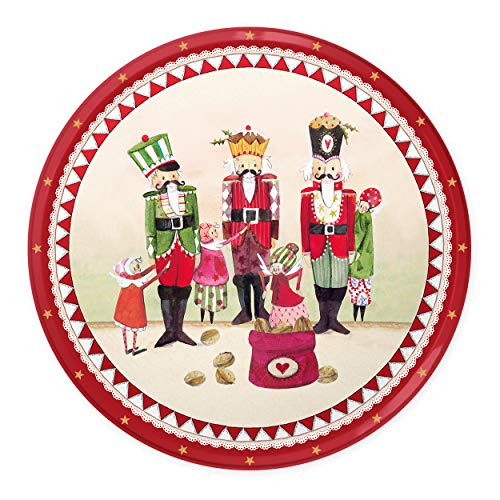 Weihnachtsteller, Nikolausteller mit Nussknacker, Advent, Nikolaus, Weihnachtsdeko in rot und weiß, Vintage Dekotablett rund Tischdekoration zu Weihnachten