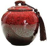 GaoF Urna de cremación de cerámica Hecha a Mano con Cambio de Horno para Cenizas humanas - Urna...