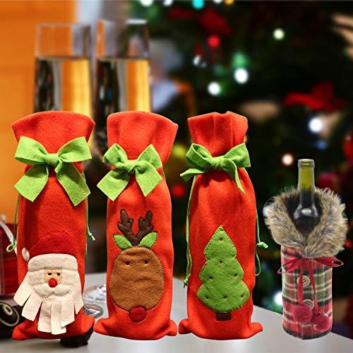 Weihnachten Weinflaschen Taschen,Flasche Weihnachten Tasche,Weihnachten Weinflasche Abdeckung,Wine Bottle Cover,für Whisky Spirituosen Champagner Weihnachtsfeier Dekorationen(4 Stück)
