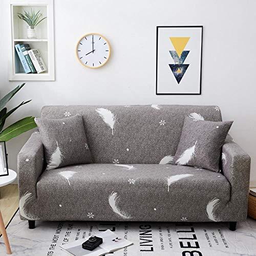 Funda Sofa Elastica 4 Plazas Protector para Sofás Antideslizante Funda Longue Chaise Cubre Sofa de Poliéster Decorativas Cubierta para sofá Ajustables con 1 Funda de Cojín - Gris emplumado