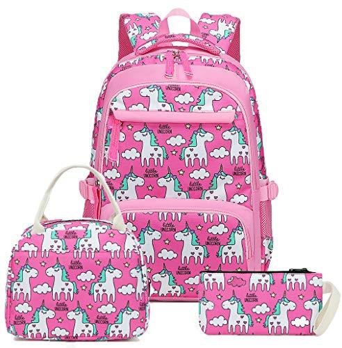 Mochila escolar para meninas, mochila leve e fofa, lancheira infantil e estojo para lápis, Laptop, Unicorn Rosy, One_Size
