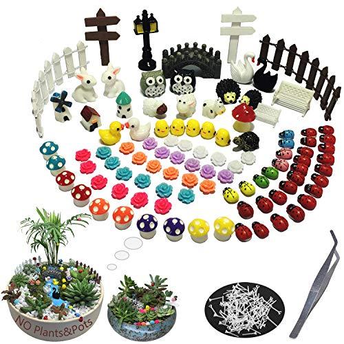 100 Pieces Miniatur Garden Ornament Kit Set for DIY Fairy Garden Mini Bonsai Dollhouse Decoration(Garden Style)