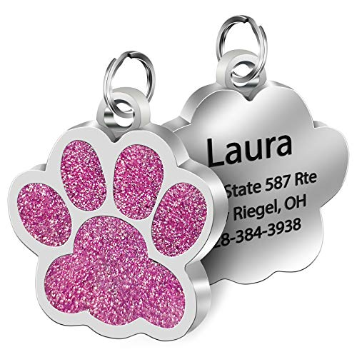 SpecialYou Glitter Paw Custom Pet ID Tag with Laser Etched on Stainless Steel, Engrave Personalized Text for Dogs Cats (Pink)