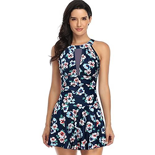 LUXMAX Hermoso traje de baño de una sola pieza para mujer con estampado grande, falda de malla de una pieza, traje de baño vintage para mujer (color: 10, tamaño: XL.) (color: 12, tamaño: L)