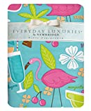 Newbridge Happy Hour Whimsy Vinyl Flannel Backed Tablecloth, Kitschy Flamingo and Tropical Cocktail Print Waterproof Patio, BBQ, Indoor Outdoor Tablecloth, 52 Inch x 52 Inch Square