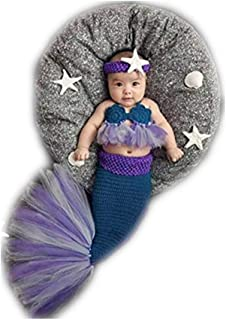Fashion Newborn Boy Girl Knitted Baby Photography Props Headdress Bra and Tail Mermaid Costume Outfits Set Blue
