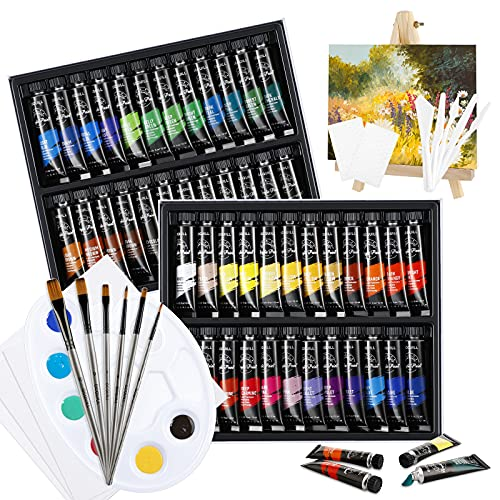48 Colores Pinturas Acrílicas, Kit de Pinturas Acrilicas Manualidades para Lienzos, Papel, Madera, Cerámica, Telas