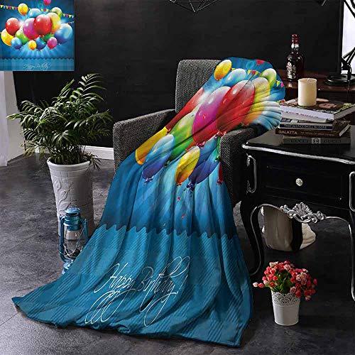 GGACEN Kinderdeken Levendige ballonnen in de lucht zonnestralen Abstracte stijl Luchtviering Thema Print Gezellige en Duurzame Fabric-Machine Wasbaar