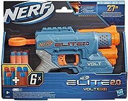 NERF Elite 2.0 Volt SD-1 Wyrzutnia - 6 oryginalnych strzałek NERF, celowanie przy pomocy wiązki światła, miejsce na 2...