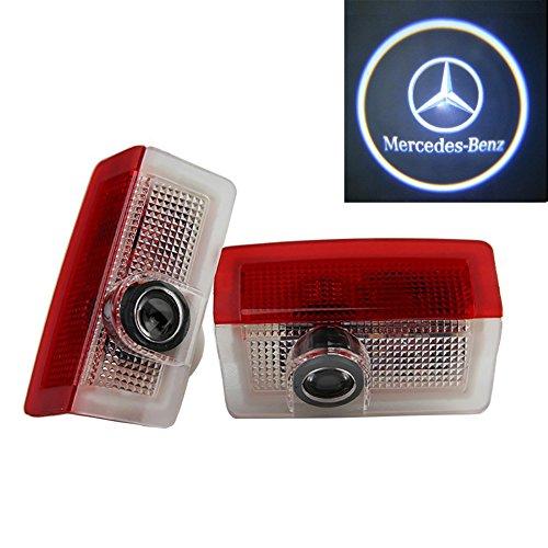 Grolish 2 piezas de LED proyector puerta logotipo de la sombra de luz Lámparas de bienvenida de cortesía Luces Kit para Benz