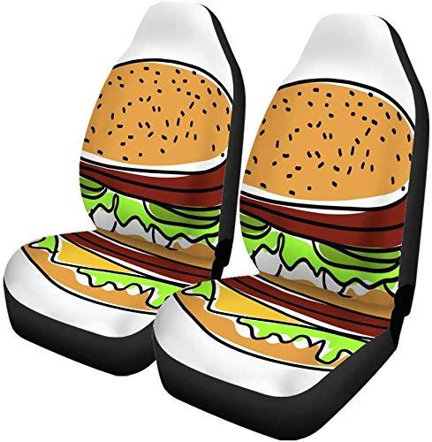 Set van 2 Auto Stoelhoezen Rood Macdonald Hamburger Burger Amerikaanse Mooie Rundvlees Box Brood Universele Auto Voorstoelen Protector Past Voor Auto
