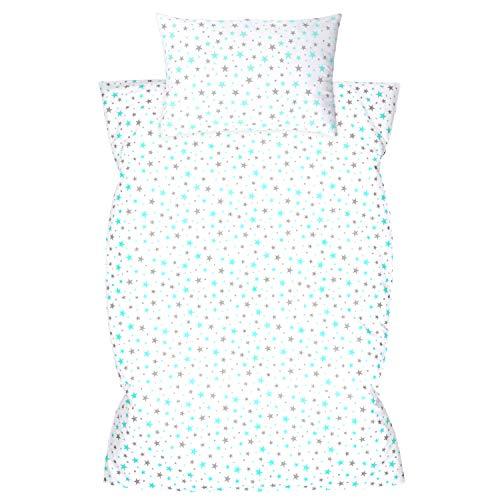 Ropa de cama infantil de 2 piezas, 100% algodón, ropa de cama para bebés, funda nórdica de 100 x 135 cm, funda de almohada de 40 x 60 cm, con cierre de hotel, color turquesa y gris claro