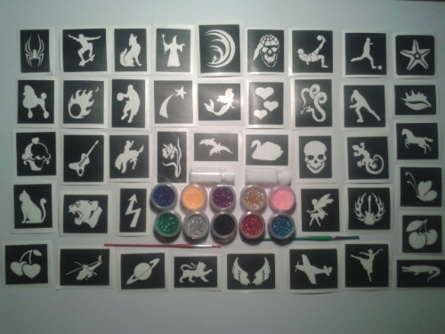 Grande insieme x 100 tatuaggio tatuaggi scintillio / corpo stencil art 10 colori di scintillio