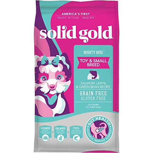 Solid Gold - Mighty Mini with Cold Water Salmon, Lentil & Green Bean Recipe - Grain Free & Gluten-Free - Holistic Weight Control Adult Dry Dog Food for Toy & Small Breeds - 4lb Bag