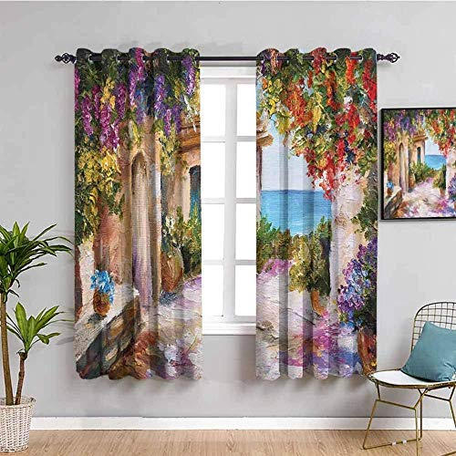 LTHCELE Blackout Curtains for Bedroom - Color flowers sea oil painting - 3D Print Pattern Eyelet Thermal Insulated - 110 x 96 inch - 90% Blackout Curtains for Kids Boys Girls Playroom