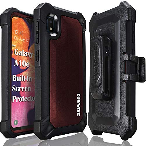 Samsung Galaxy A10E Case, COVRWARE [ Aegis Pro Series ] with Built-in [Screen Protector] Heavy Duty Full-Body Rugged Holster Armor Cover [Belt Swivel Clip][Kickstand], Red