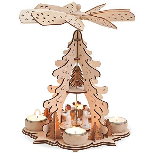 matches21 Weihnachtspyramide 1-stöckig Tannenbaum & Engel für Teelichter Holz Tischdeko Adventspyramide 1 STK 22x27 cm