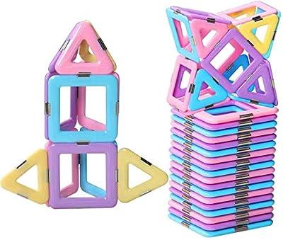 DEJUN Magnetic Blocks Toys, Kids Building Blocks Set, Construction Play Board Building Blocks Recreational Educational Conventional Toys Gift for Toddler Boys Girls (30 PCS)