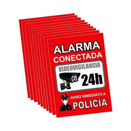 Pegatina alarma securitas - Cartel zona videovigilada adhesivo - Pegatinas Aviso a la Policía - Placa videovigilancia Rojo Interior/Exterior (14,8 x 10,5 cm) (10 Piezas Pegatinas zona videovigilada)