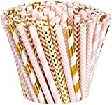 [200 Pack] Pink & Gold Paper Drinking Straws 100% Biodegradable Multi-Pattern Party Straws