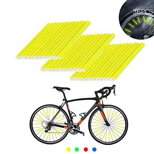 ETHEL Reflektierende Fahrrad Speichen,36 Stcke Clips Fahrrad,360° Sichtbarkeit Reflektoren,für Speichenreflektoren für Sicheres Fahren,Fahrrad Dekoration (Gelb)