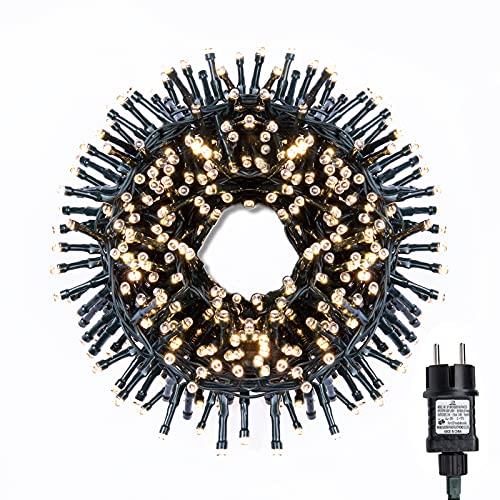 gresonic-Led-Cluster-15m lang-Lichterkette-Strombetrieb Deko für Innen Außen Garten Weihnachtsbaum Hochzeit (Warmweiss Dauerlicht, 750LED)