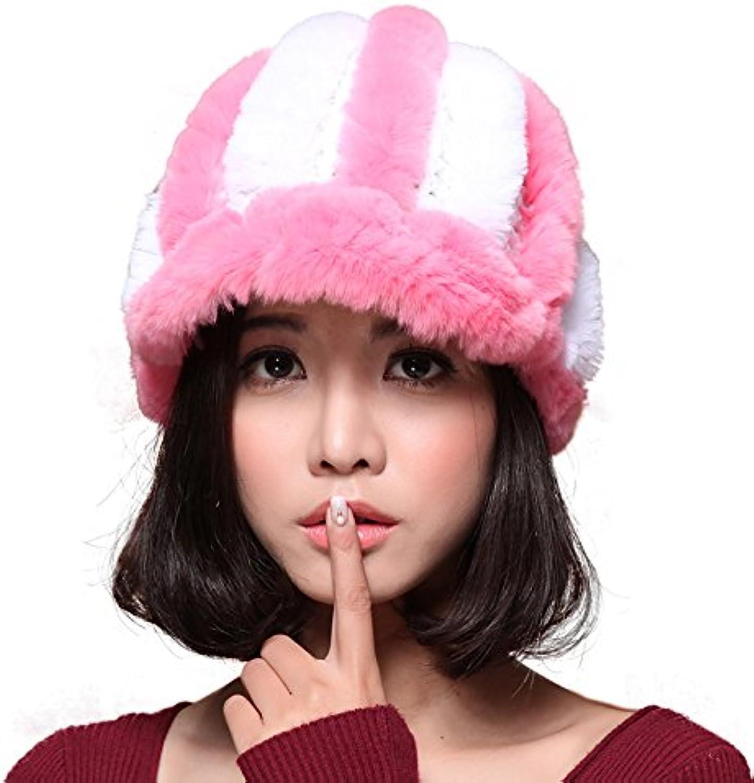 Mingxin womens pumpkin shaped real rabbit fur made peak cap winter warm outdoors