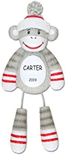 DIBSIES Personalization Station Personalized Sock Monkey Kids Christmas Ornament