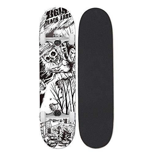 Skateboard 31x8 Zoll komplettes Cruiser-Skateboard, 7-lagige konkave Oberfläche aus kanadischem Ahorn-Double-Kick-Deck, All-in-One-Skateboard für Anfänger-Skelett
