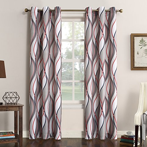 No. 918 Intersect Wave Print Grommet Curtain Panel, 48' x 95', Nickel Gray