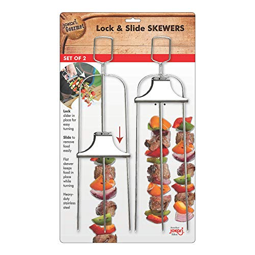 BBQ Skewers Lock & Slide Stainless Steel (Set of 2) Makes 6 Kebabs, Grill Kebab Gadget, Best Skewer for Outdoor Grilling with Quick and Easy Release for Any Type of Shish Kebab Chicken or Vegetables