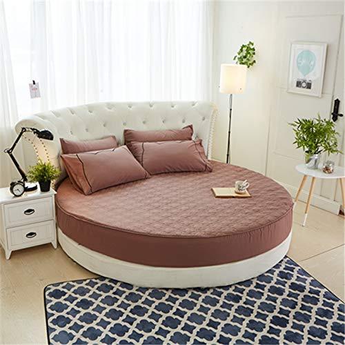 ZHAOMIAO Protector de colchón Acolchado Redondo Sábana Ajustable 100% algodón Sábana de Cama Redonda romántica Ropa de Cama temática 200cm 5