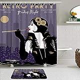 Juego de cortinas y tapetes de ducha de tela,Belleza Cigarrillo Retro Arte Fiesta Coche Pluma Moda Elegancia Vogue Noc,cortinas de baño repelentes al agua con 12 ganchos, alfombras antideslizantes