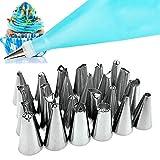 Boquillas para manga pastelera - 24 boquillas de acero inoxidable, manga pastelera de silicona reutilizable para herramientas decoración para la fabricación de pasteles y galletas (26 unidades)