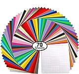 70 Láminas de vinilo Ohuhu, con respaldo adhesivo permanente, 60 láminas de vinilo 12' x 12' 10 láminas, 30 colores surtidos para máquinas de corte, siluetas.