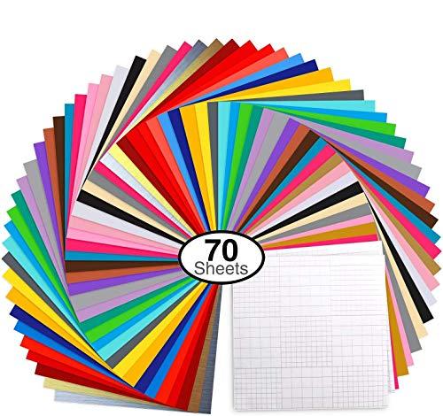 Vinylfolien,Ohuhu 70 Satz Plotterfolie mit permanentem Klebefolien, 60 Vinylfolien 12