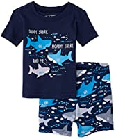 The Children's Place Baby Boys' Matching Family Shark Snug Fit Cotton Two-Piece Pajamas, Thunder Blue