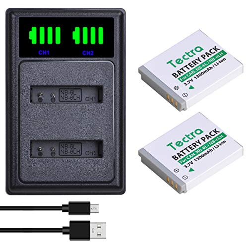 Tectra 2-Pack NB-6L NB-6LH Rechargerable Battery and LED Dual Charger for Canon PowerShot SX510 HS, SX530 HS, SX540 HS, SX710 HS, SX700 HS, SX610 HS, SX600 HS, SX500 is, SX280 HS, SX270 HS